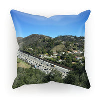 City In Mountains Highway Cushion Canvas / 18X18 Homeware