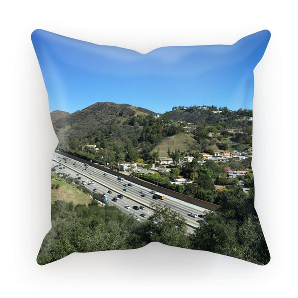 City In Mountains Highway Cushion Linen / 12X12 Homeware