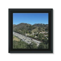City In Mountains Highway Framed Canvas 14X14 Wall Decor
