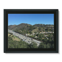 City In Mountains Highway Framed Canvas 16X12 Wall Decor