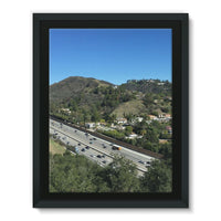 City In Mountains Highway Framed Canvas 18X24 Wall Decor