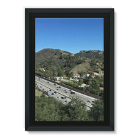 City In Mountains Highway Framed Canvas 24X36 Wall Decor