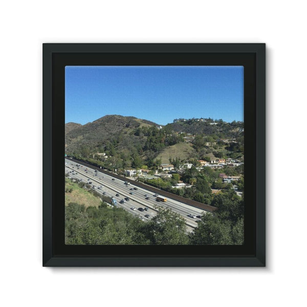 City In Mountains Highway Framed Eco-Canvas 10X10 Wall Decor