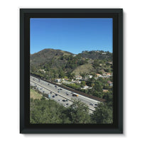 City In Mountains Highway Framed Eco-Canvas 11X14 Wall Decor