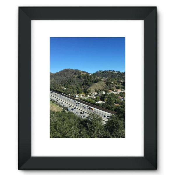 City In Mountains Highway Framed Fine Art Print 12X16 / Black Wall Decor