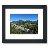 City In Mountains Highway Framed Fine Art Print 16X12 / Black Wall Decor