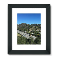 City In Mountains Highway Framed Fine Art Print 24X32 / Black Wall Decor