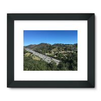 City In Mountains Highway Framed Fine Art Print 32X24 / Black Wall Decor