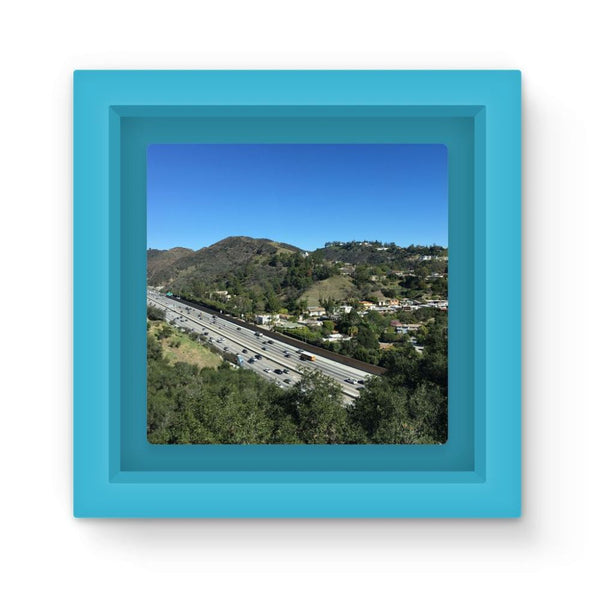 City In Mountains Highway Magnet Frame Light Blue Homeware