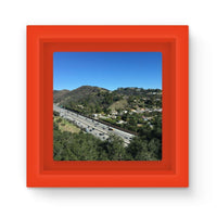City In Mountains Highway Magnet Frame Red Homeware