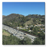 City In Mountains Highway Stretched Canvas 10X10 Wall Decor