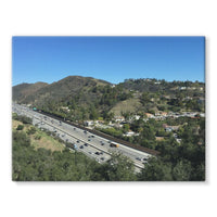 City In Mountains Highway Stretched Canvas 16X12 Wall Decor