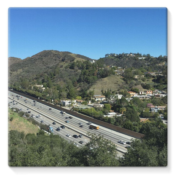 City In Mountains Highway Stretched Eco-Canvas 10X10 Wall Decor