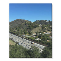 City In Mountains Highway Stretched Eco-Canvas 11X14 Wall Decor