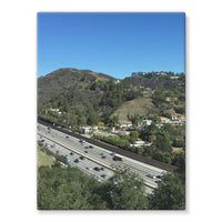 City In Mountains Highway Stretched Eco-Canvas 18X24 Wall Decor