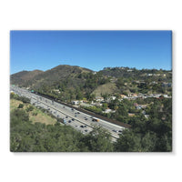 City In Mountains Highway Stretched Eco-Canvas 24X18 Wall Decor
