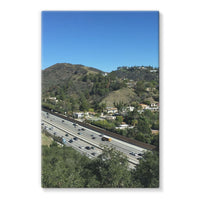 City In Mountains Highway Stretched Eco-Canvas 24X36 Wall Decor