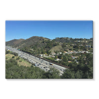 City In Mountains Highway Stretched Eco-Canvas 36X24 Wall Decor