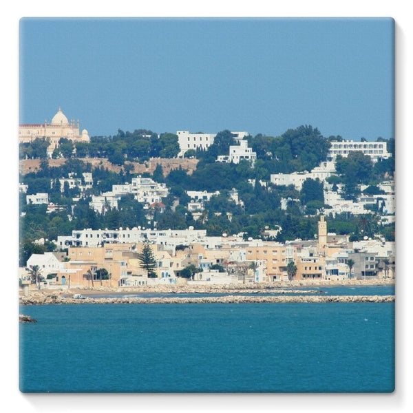 City Of Tunis From The Sea Stretched Eco-Canvas 10X10 Wall Decor