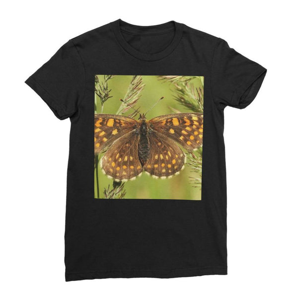 Close Up Of A Colourful Moth Womens Fine Jersey T-Shirt S / Black Apparel