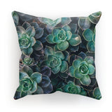 Close-Up Of Green Flowers Cushion Faux Suede / 12X12 Homeware