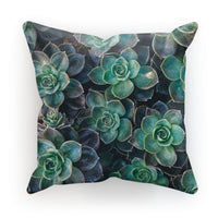 Close-Up Of Green Flowers Cushion Linen / 18X18 Homeware