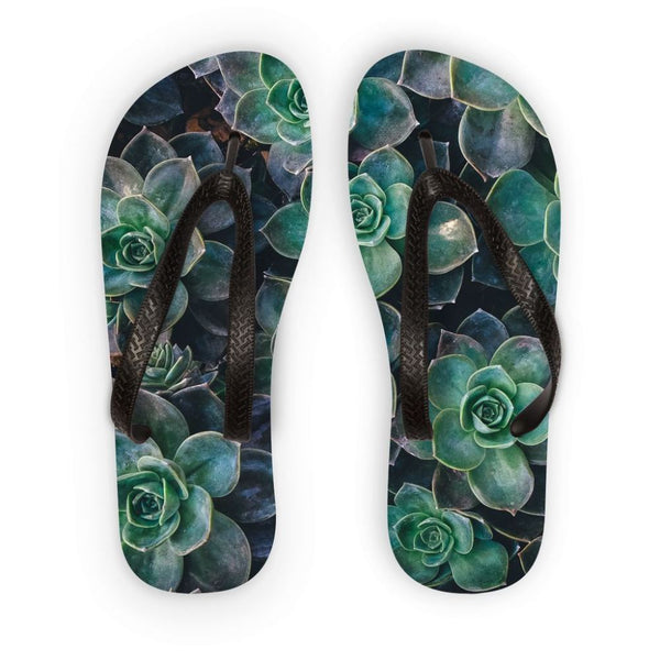 Close-Up Of Green Flowers Flip Flops S Accessories