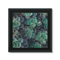 Close-Up Of Green Flowers Framed Eco-Canvas 10X10 Wall Decor