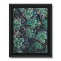 Close-Up Of Green Flowers Framed Eco-Canvas 18X24 Wall Decor