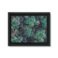 Close-Up Of Green Flowers Framed Eco-Canvas 24X18 Wall Decor