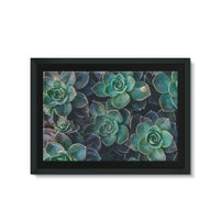Close-Up Of Green Flowers Framed Eco-Canvas 36X24 Wall Decor