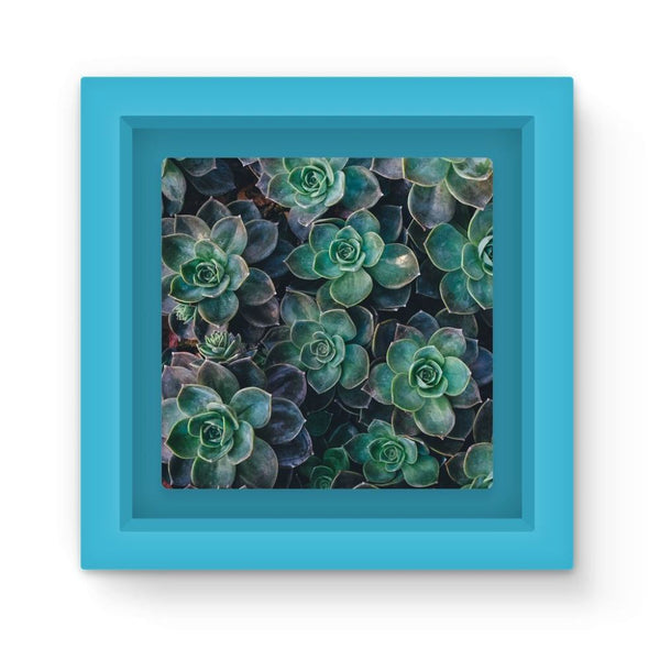 Close-Up Of Green Flowers Magnet Frame Light Blue Homeware