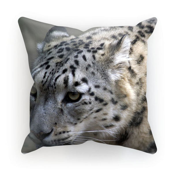 Closeup Of A Snow Leopard Cushion Linen / 12X12 Homeware
