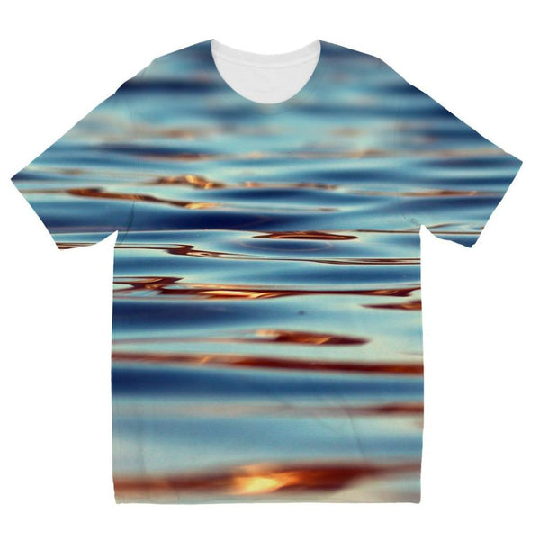 Closeup Of Waves In Water Kids Sublimation T-Shirt 3-4 Years Apparel