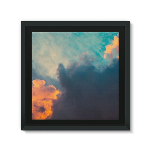 Clouds And Risining Sun Framed Canvas 12X12 Wall Decor