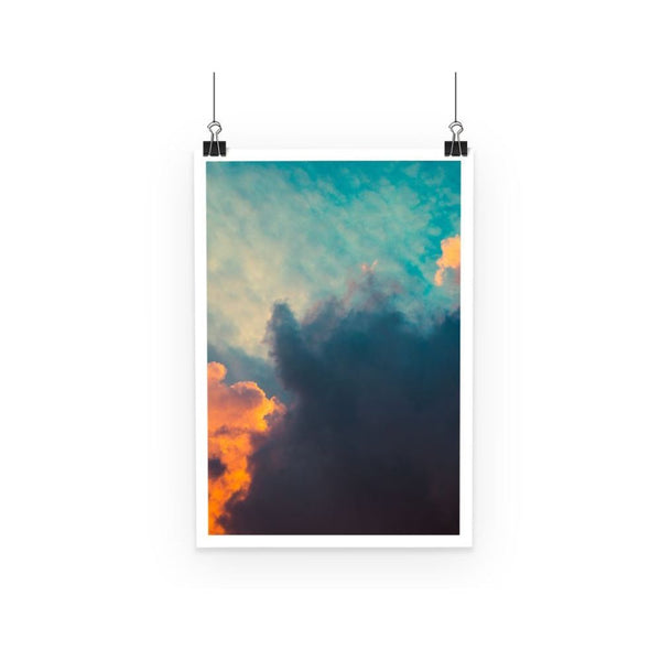 Clouds And Risining Sun Poster A3 Wall Decor