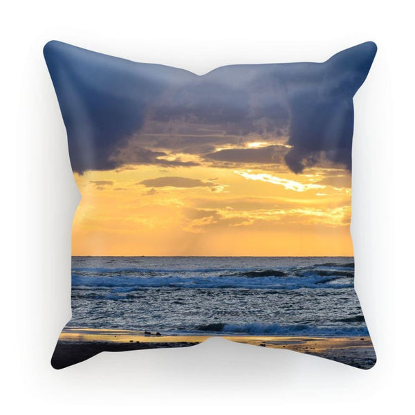 Cloudy Sunset On Sea Shore Cushion Linen / 12X12 Homeware