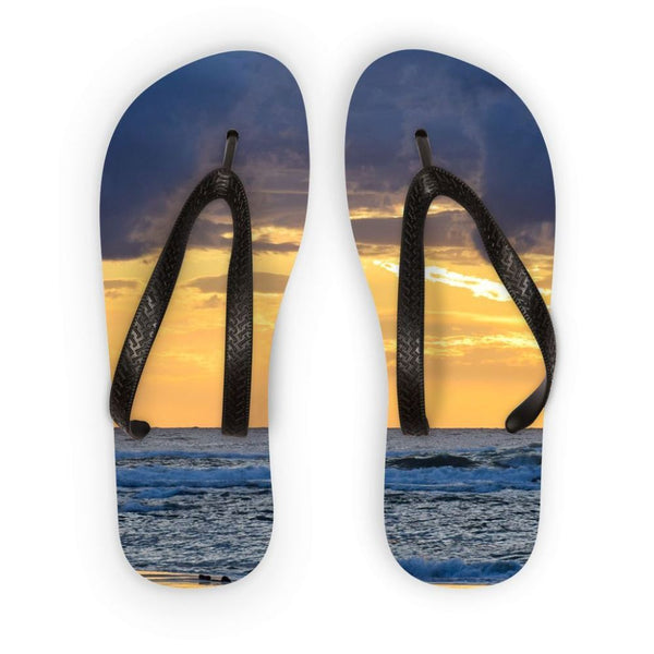Cloudy Sunset On Sea Shore Flip Flops S Accessories