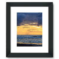 Cloudy Sunset On Sea Shore Framed Fine Art Print 12X16 / Black Wall Decor