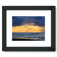 Cloudy Sunset On Sea Shore Framed Fine Art Print 16X12 / Black Wall Decor