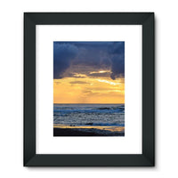 Cloudy Sunset On Sea Shore Framed Fine Art Print 18X24 / Black Wall Decor