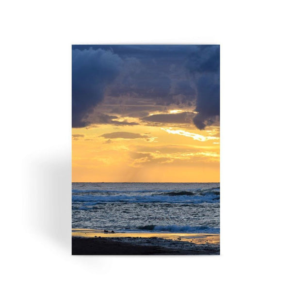 Cloudy Sunset On Sea Shore Greeting Card 1 Prints