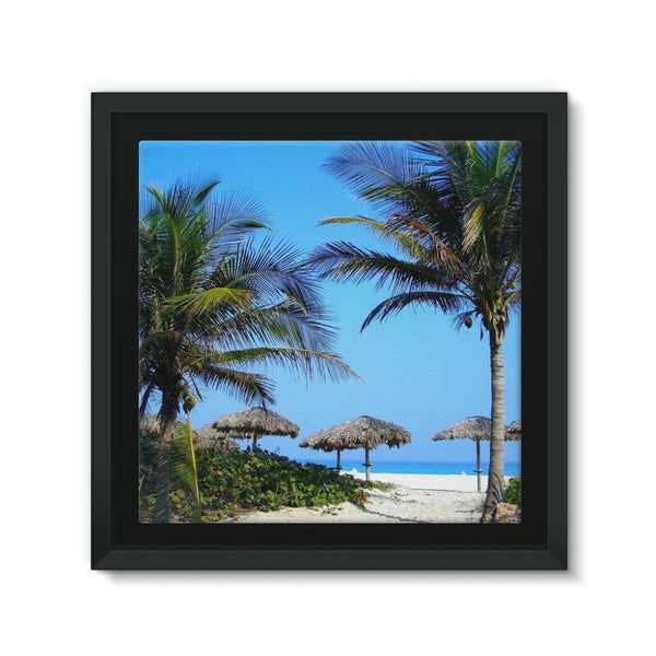 Coconut Trees Framed Eco-Canvas 10X10 Wall Decor