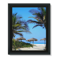 Coconut Trees Framed Eco-Canvas 11X14 Wall Decor
