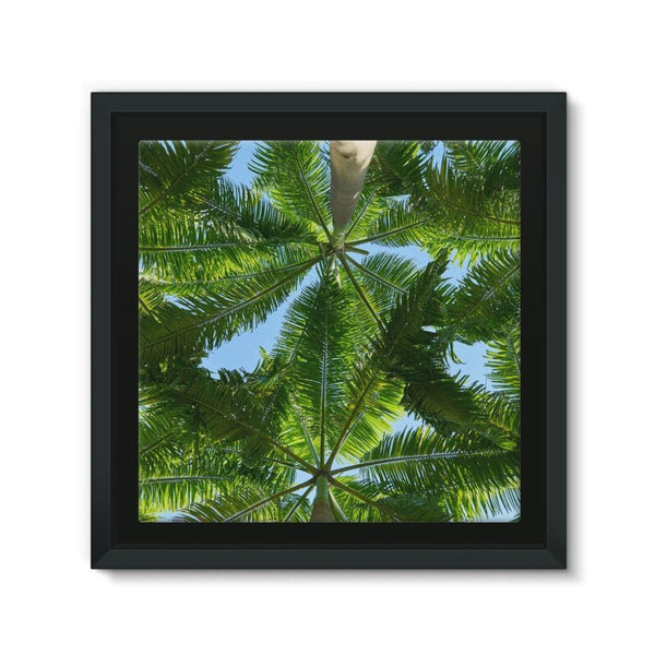 Coconut Trees Leaves Pattern Framed Canvas 12X12 Wall Decor