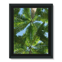 Coconut Trees Leaves Pattern Framed Canvas 12X16 Wall Decor