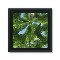 Coconut Trees Leaves Pattern Framed Canvas 14X14 Wall Decor