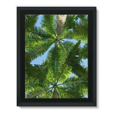 Coconut Trees Leaves Pattern Framed Canvas 18X24 Wall Decor