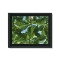 Coconut Trees Leaves Pattern Framed Canvas 24X18 Wall Decor