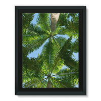 Coconut Trees Leaves Pattern Framed Canvas 24X32 Wall Decor